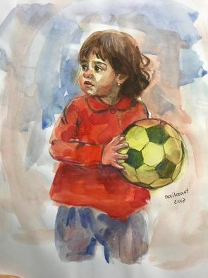#WorldWatercolorGroup - Watercolor by Naila Hazell - Portrait of Child With Soccer Ball - #doodlewash