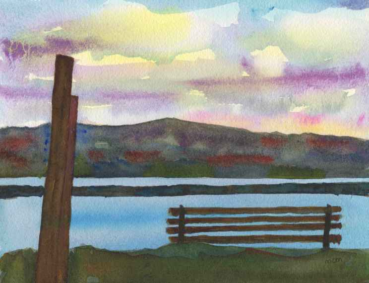 #WorldWatercolorGroup - Watercolor by Cristina Mazzoni - park bench - #doodlewash