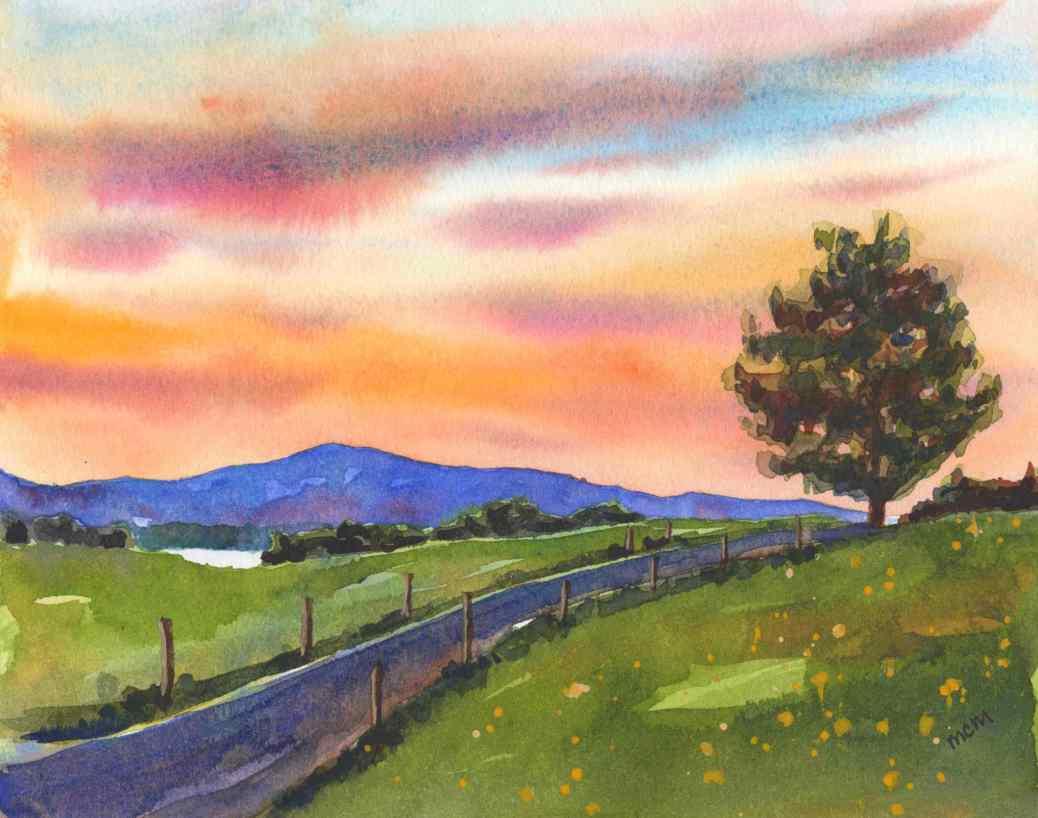 #WorldWatercolorGroup - Watercolor by Cristina Mazzoni - landscape - #doodlewash