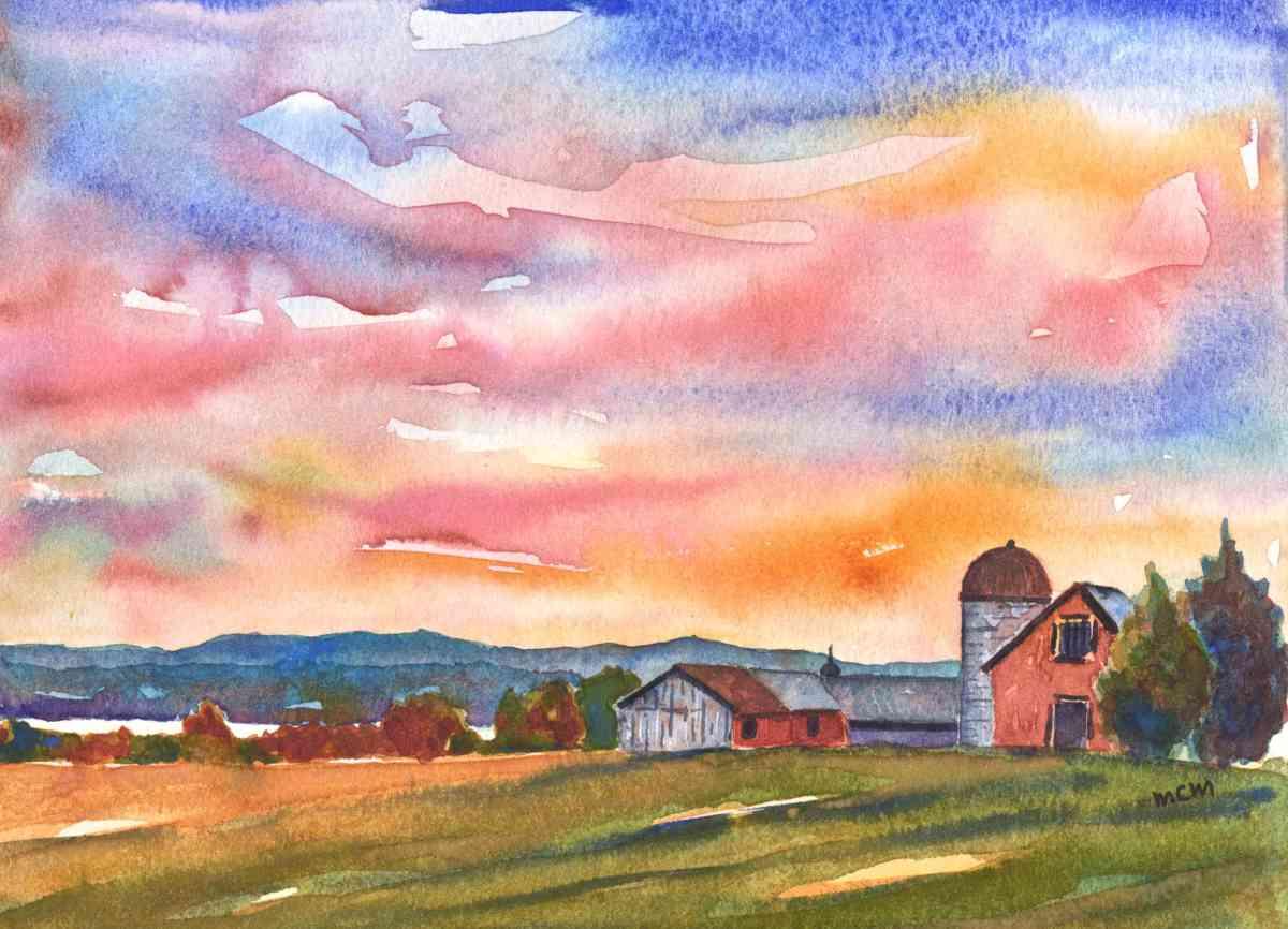 #WorldWatercolorGroup - Watercolor by Cristina Mazzoni - farm - #doodlewash
