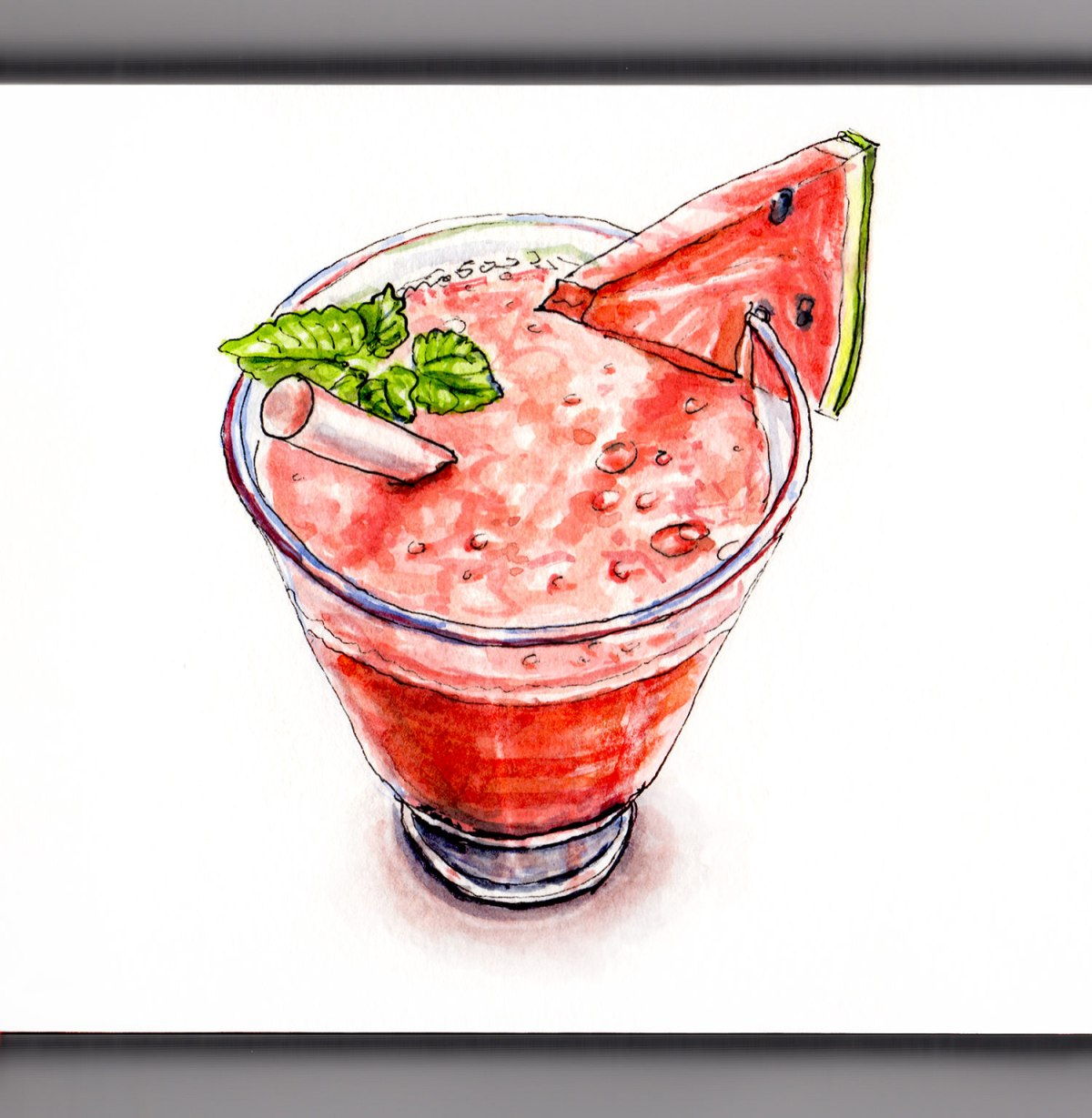 Day 9 - #WorldWatercolorGroup - Watermelon Smoothie Watercolor Food Illustration - #doodlewash