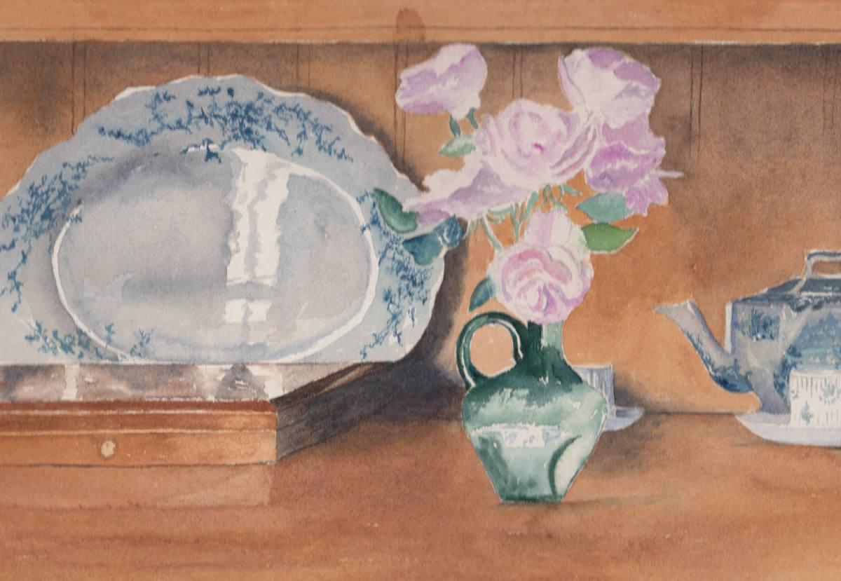 #WorldWatercolorGroup - Watercolor by Jan Purves - Joan's Dresser - #doodlewash