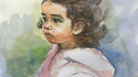 #WorldWatercolorGroup - Watercolor by Naila Hazell - Little Girl In Pink Coat - #doodlewash