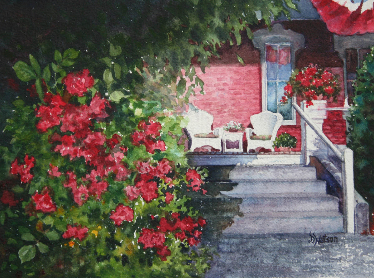 #WorldWatercolorGroup - Watercolor painting by Deb Watson - porch and flowers - #doodlewash