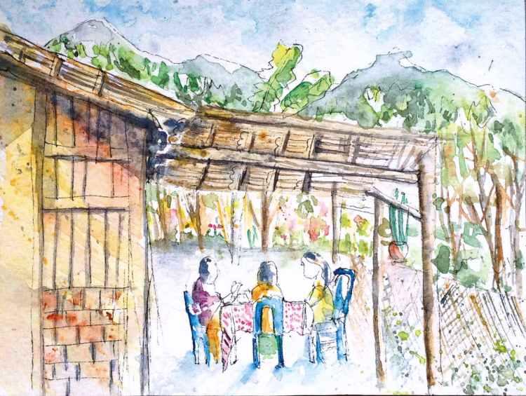 Locals chatting during breakfast in Sapa, Vietnam 37
