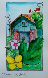 At my friends Miriam\'s house sketching her art studio. Peerless watercolors and micron pen. S