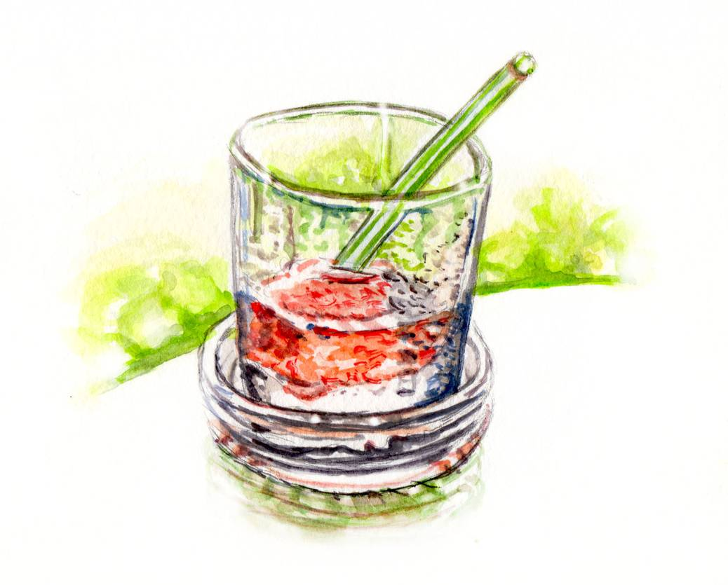 Day 1 - A Cold Summer Drink - watercolor Glass - #doodlewash