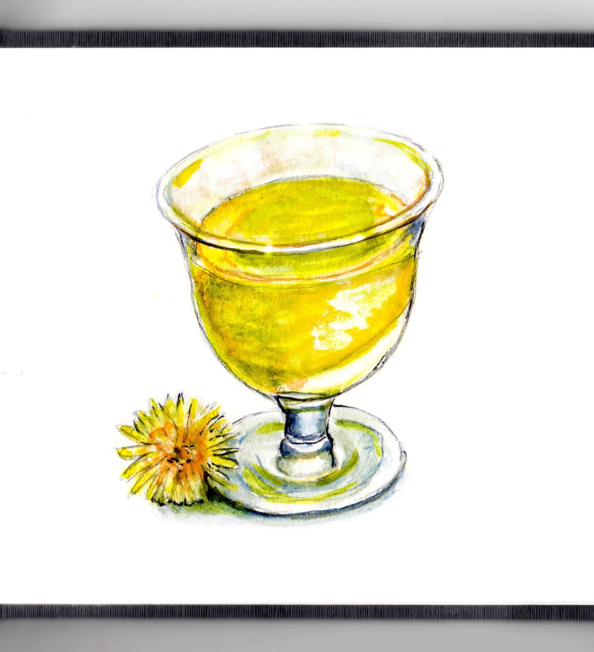 Day 15 - #WorldWatercolorGroup - Dandelion Wine Watercolor - #doodlewash