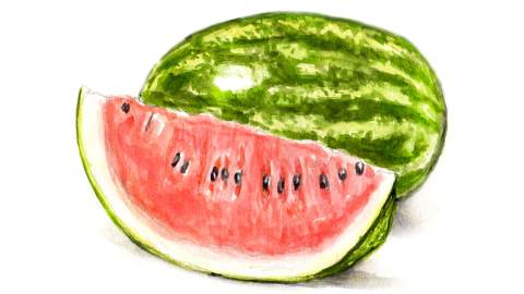 Day 18 - #WorldWatercolorGroup - Watermelon With Seeds Slice Full - #doodlewash