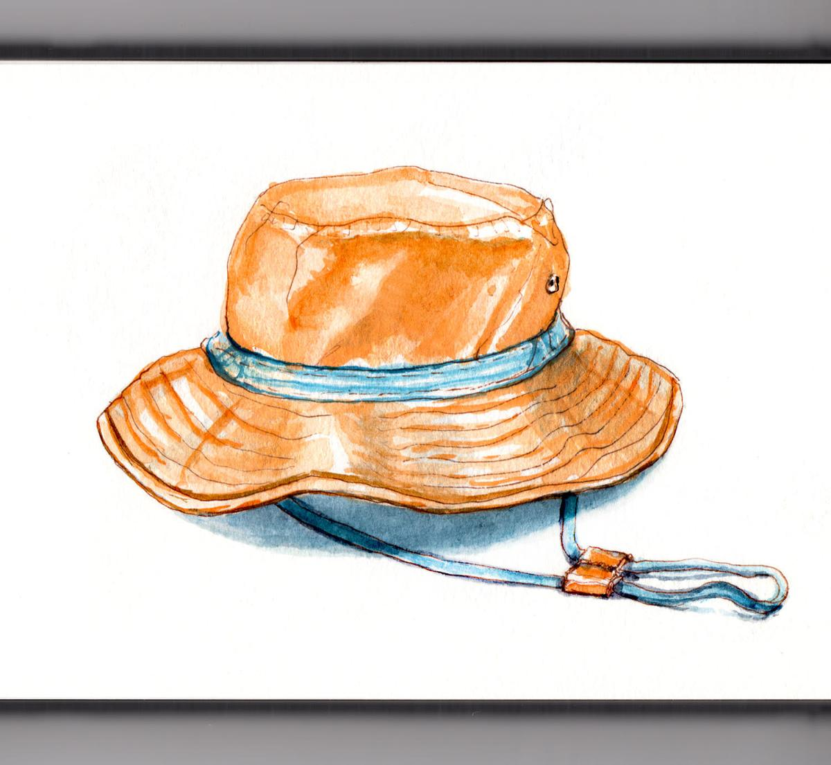 Day 23 - #WorldWatercolorGroup - Wearing Many Hats Orange and Blue Summer Hat - #doodlewash