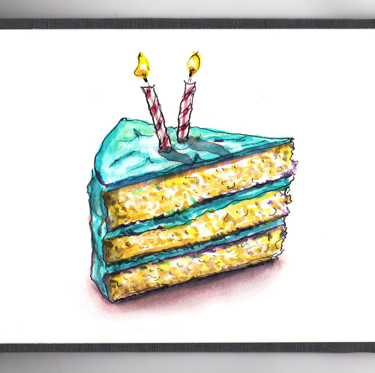 Day 30 - #WorldWatercolorGroup #WorldWatercolorMonth - Doodlewash Turning Two In July! - Birthday Cake With Two Candles - #doodlewash