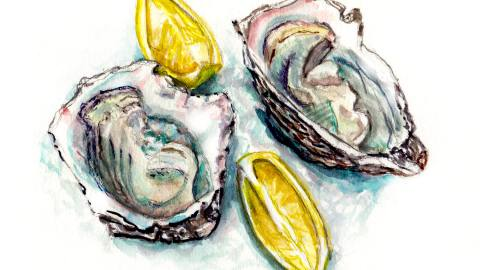 Day 8 - #WorldWatercolorGroup Oysters On The Halfshell With Lemon Watercolor - #doodlewash