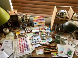 Schmincke Marilyn A. Garber 2017 Custom Set from Wet Paint & Schmincke 125 anniversary New Colors swatch jessica seacrest studio desk, watercolor palettes, Daniel Smith, Grumbacher, Letter Sparrow, art supply review