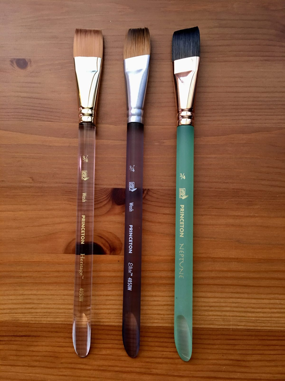 Princeton Artist Brush Co. watercolor brushes, heritage, elite, Neptune, velvetouch, summit