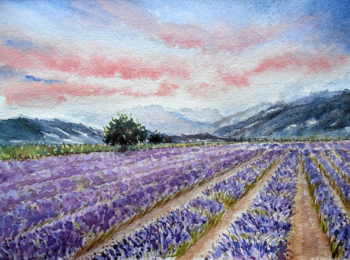 #WorldWatercolorGroup - Watercolor by Nimesha Udani - Hugging Lavender - #doodlewash
