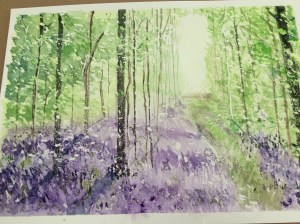 Bluebell wood from tutorial by Sian Dudley. Loved getting mucky with masking fluid and layers and la