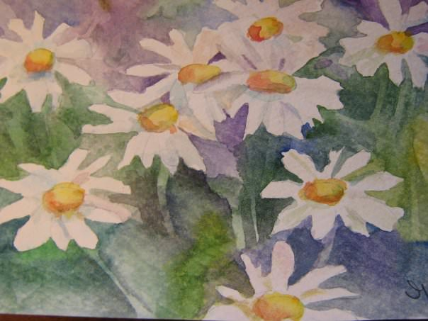 Daisys are on of my flowers featured in my garden. Some fun with negative painting and I love making