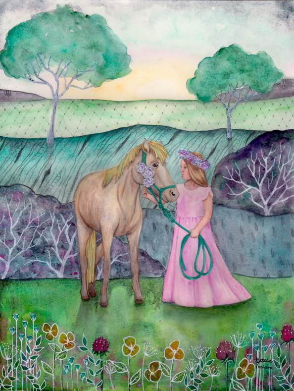 #WorldWatercolorGroup - Watercolor by Natalie Mecham - Little Girl and Pony - #doodlewash