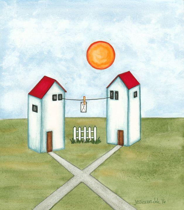 #WorldWatercolorGroup - Watercolor by Jessica Wesolek - Mending Fences - #doodlewash