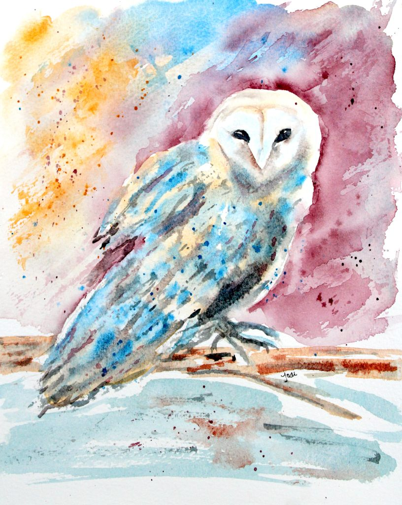 Odessa Owl Odessa the Barn Owl Watercolor 8×10 140 lb Cold Press Saunders