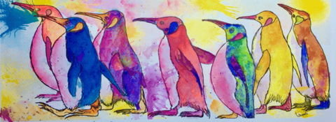 #WorldWatercolorGroup - Watercolour by Urvashi Patel Art - Penguins - There is a cake in the kitchen - #doodlewash