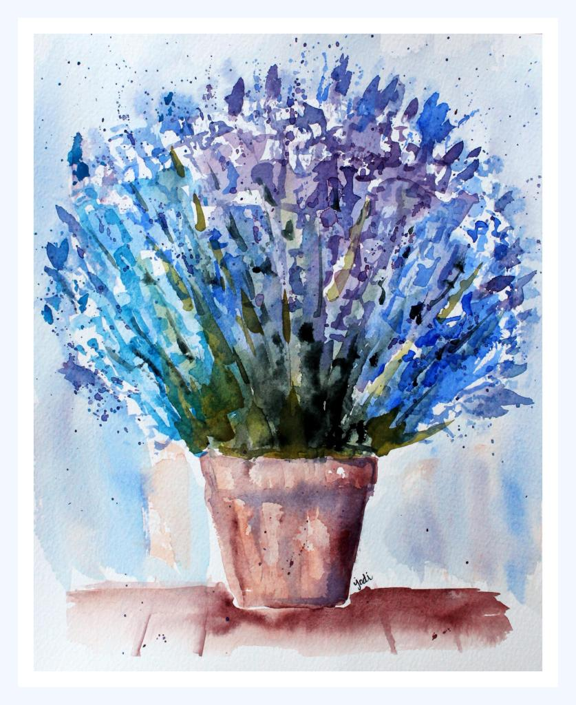 Potted lavender Potted Blue Lavender Watercolor on 8×10 Fabriano 140lb Cold Press