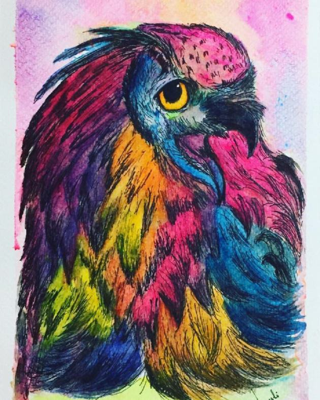 #WorldWatercolorGroup - Watercolour by Urvashi Patel Art - Rainbow Eagle - #doodlewash