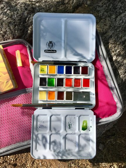 Schmincke Marilyn A. Garber 2017 Custom Set from Wet Paint & Schmincke 125 anniversary New Colors swatch in a mochithings better together note pouch with travel brushes