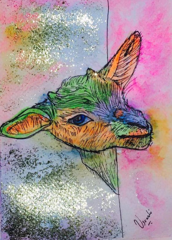 #WorldWatercolorGroup - Watercolour by Urvashi Patel Art - Sneaky Little Goat - #doodlewash