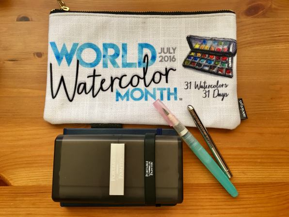 Portable Painter is a hands free travel palette with world watercolor month swag zipper bag