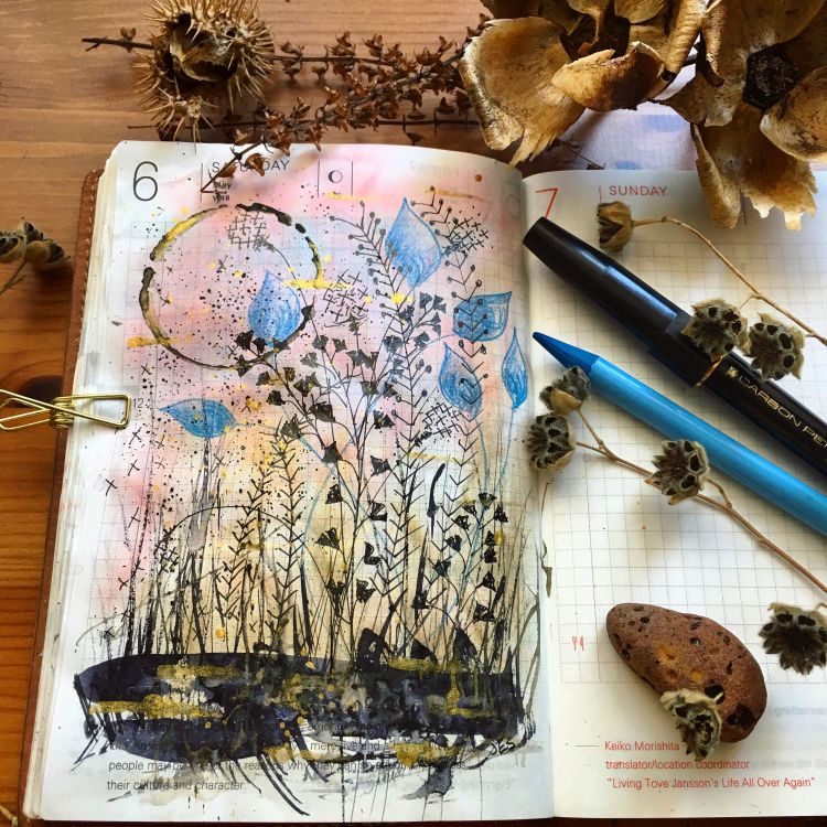 Weeds- Watercolor, Ink, Pencil in Hobonichi Techo Weeds