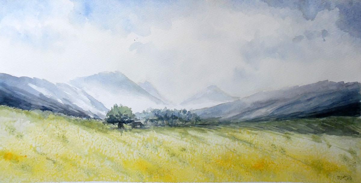 #WorldWatercolorGroup - Watercolor by Nimesha Udani - Yellow Landscape - #doodlewash