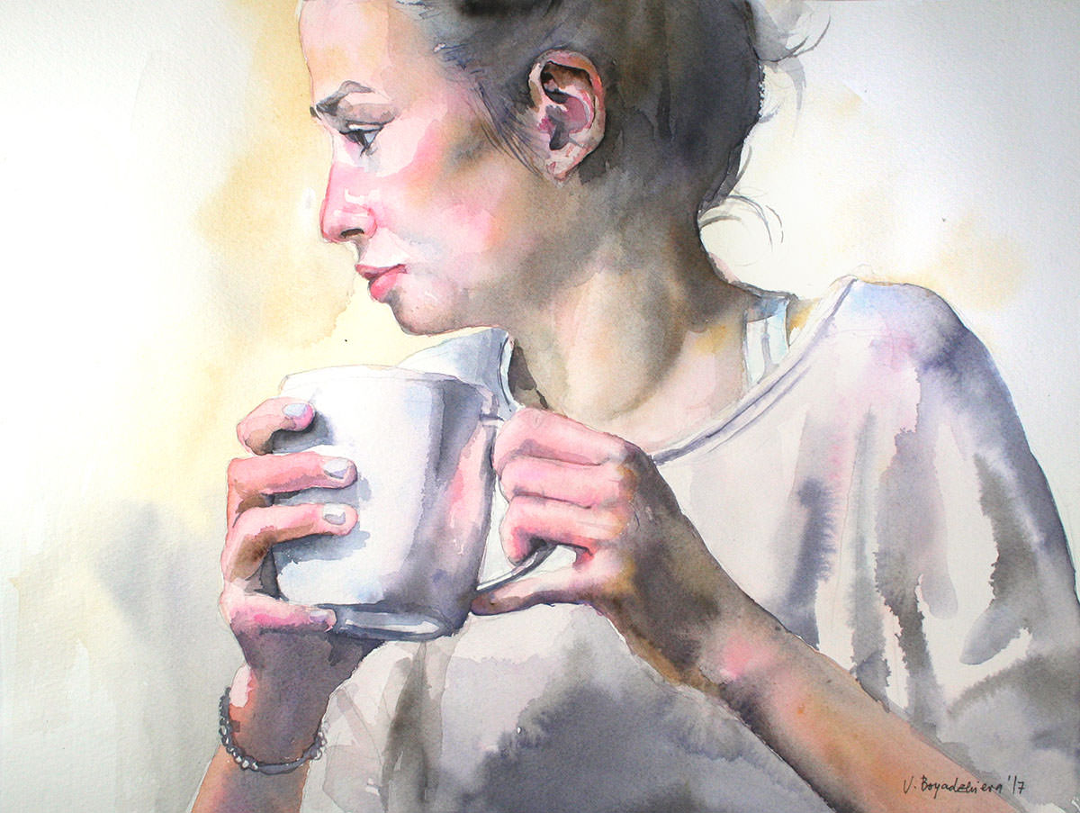 #WorldWatercolorGroup - Watercolor by Violeta Boyadzhieva - portrait of a woman with coffee cup - #doodlewash