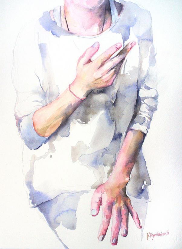 #WorldWatercolorGroup - Watercolor by Violeta Boyadzhieva - hands of a woman - #doodlewash