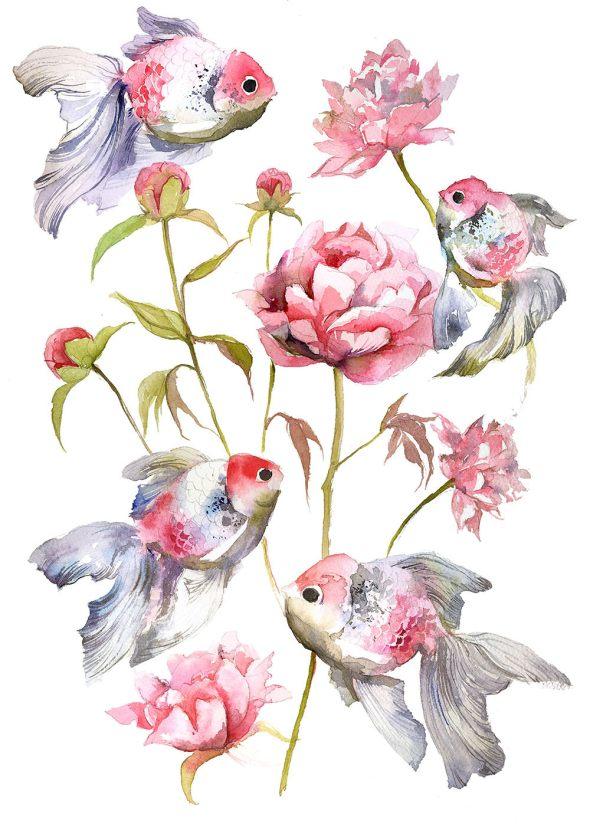 #WorldWatercolorGroup - Watercolor by Violeta Boyadzhieva - fish and flower pattern - #doodlewash
