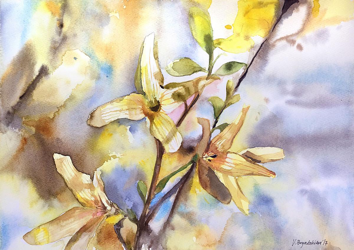#WorldWatercolorGroup - Watercolor by Violeta Boyadzhieva - forsithya - #doodlewash