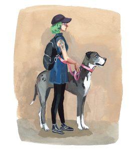 #WorldWatercolorGroup - Art by Jenny Kroik - great dane green - #doodlewash