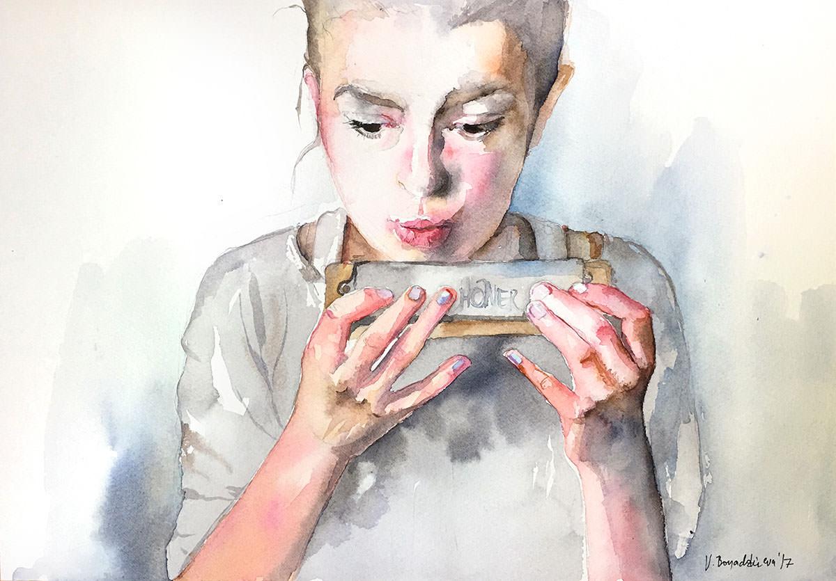 #WorldWatercolorGroup - Watercolor by Violeta Boyadzhieva - girl playing harmonica - #doodlewash