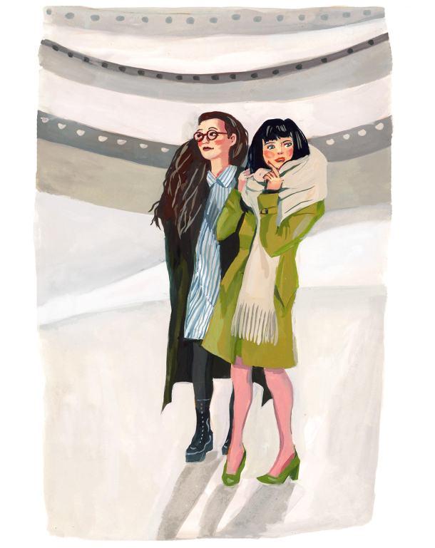 #WorldWatercolorGroup - Art by Jenny Kroik - ladies at the Guggenheim - #doodlewash