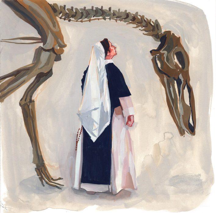 #WorldWatercolorGroup - Art by Jenny Kroik - nun and dinosaur bones - #doodlewash