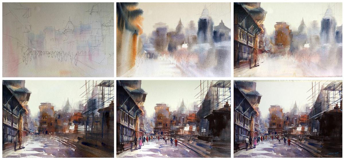 #WorldWatercolorGroup - Watercolor process by Ekaraj Worasamutprakarn - #doodlewash