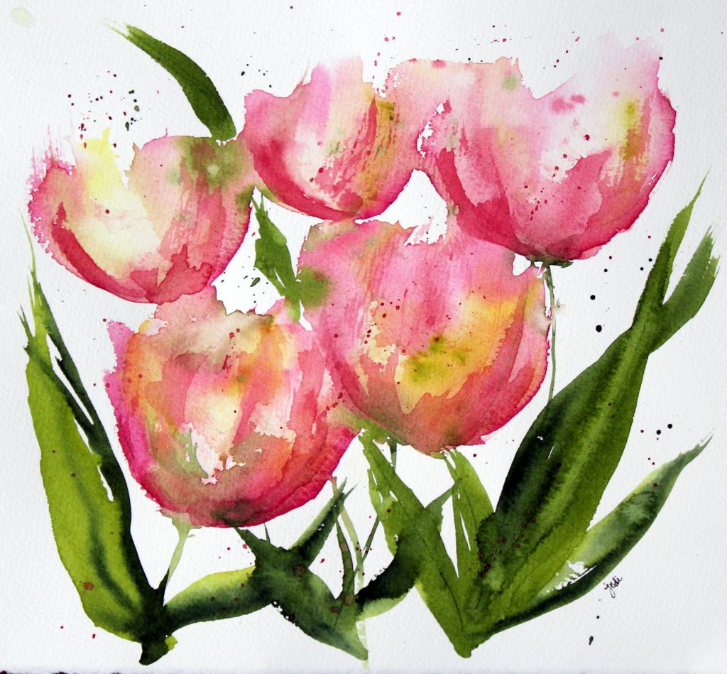 Pink Apricot Tulips pink apricot tulips impressionist watercolor 8×10 fabriano 140lb cold press
