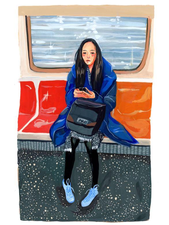 #WorldWatercolorGroup - Art by Jenny Kroik - girl on subway - #doodlewash
