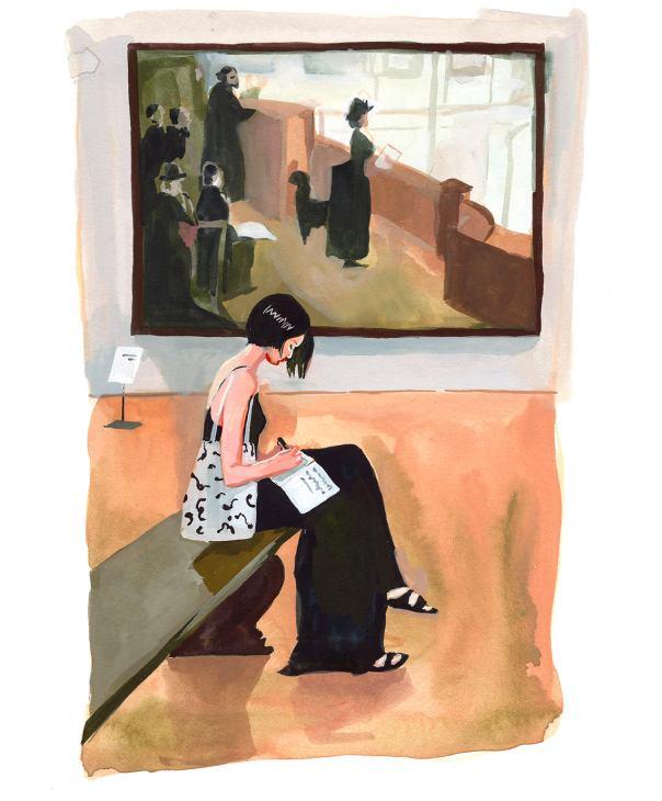#WorldWatercolorGroup - Art by Jenny Kroik - woman writing in museum - #doodlewash