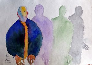 X and his shadows watercolors on handmade paper 42 x 30 cm 20170707_112412 (Large)