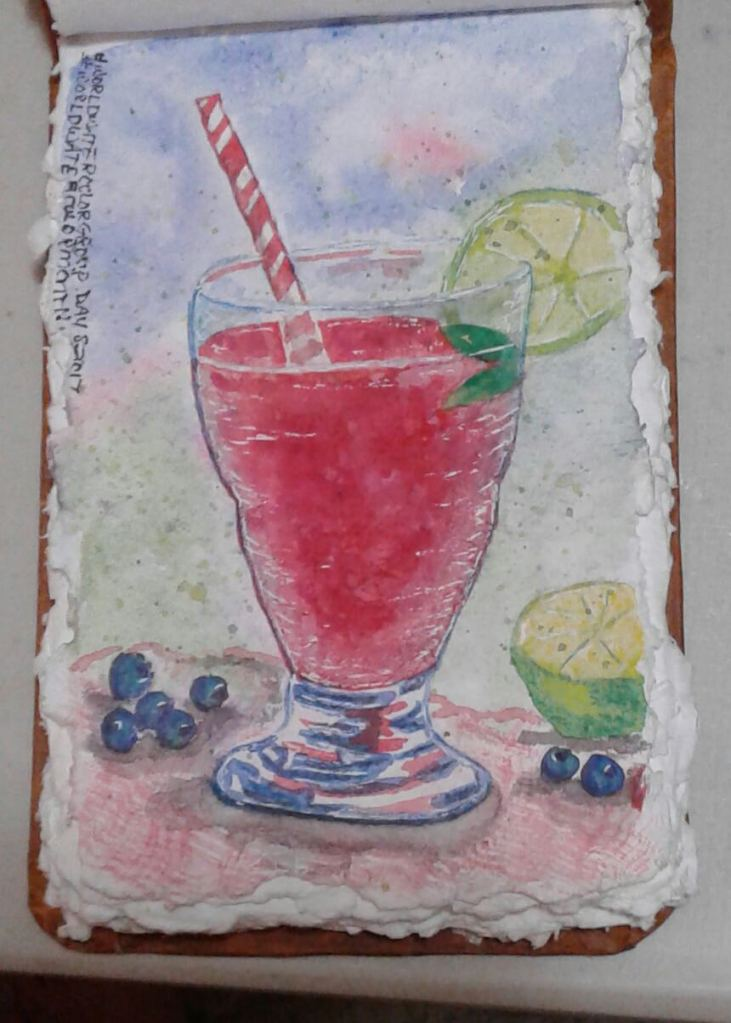 I followed Lindsay Weirich's recent tutorial to create a cool summer drink. #WorldWatercolorMo