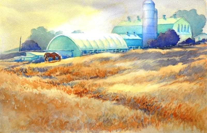 """""""All My Friends Are in the Barn"""" is an original watercolor, 22″ X 15″ on 300"""