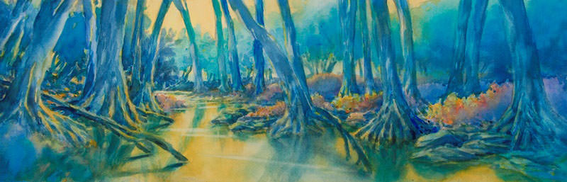 World Watercolor Month - Watercolor painting by Virgil Carter - landscape - Doodlewash