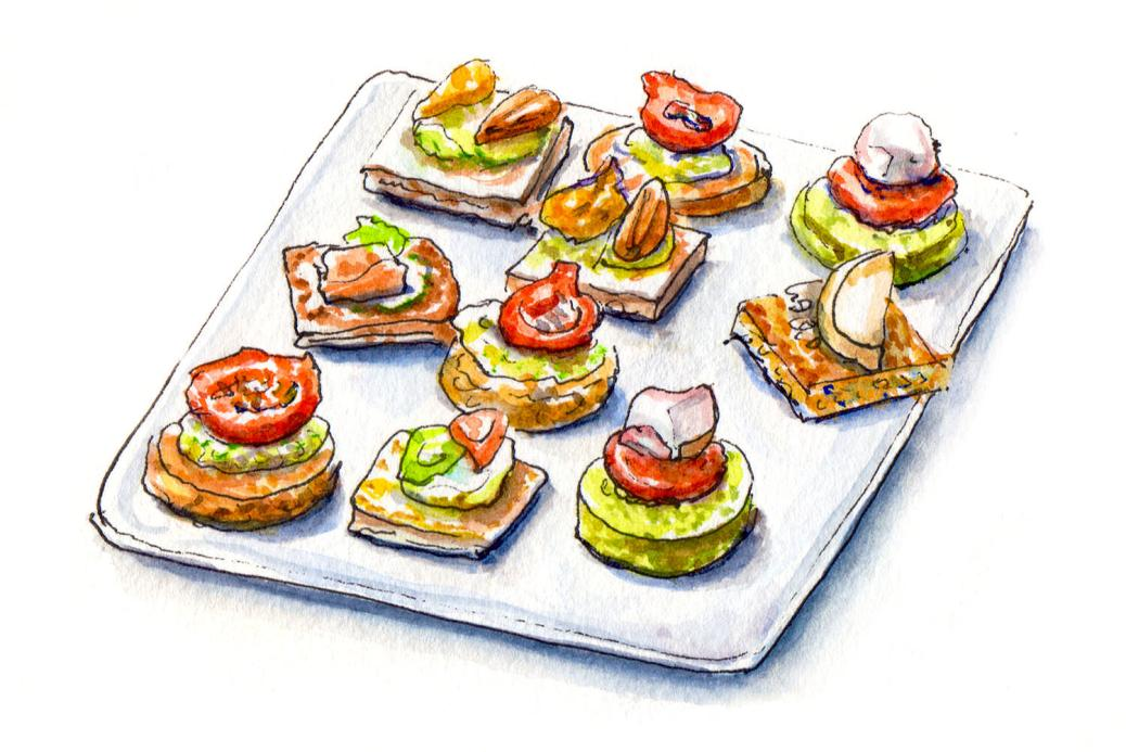 Day 1 - #WorldWatercolorMonth - A plate of Canapés - #doodlewash