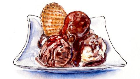 Day 13 - World Watercolor Month - Chocolate Vanilla Ice Cream Treat - Doodlewash